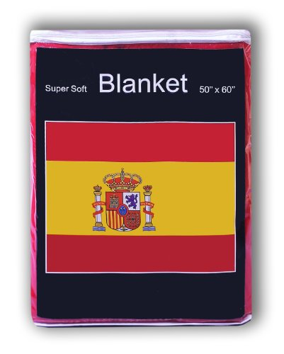 Spanish Flag Fleece Blanket 5 ft x 4.2 ft. Throw Cover Flag of Spain Bedding La Bandera de España by Super Soft