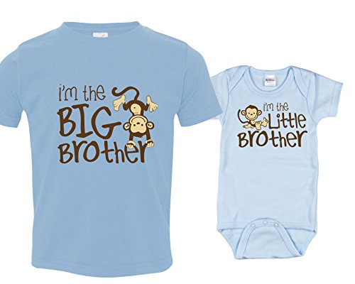 [Sibling Shirts for Boys I'm the Big Brother Includes Size 3 and 6-12 mo] (Monkey Outfits For Toddlers)