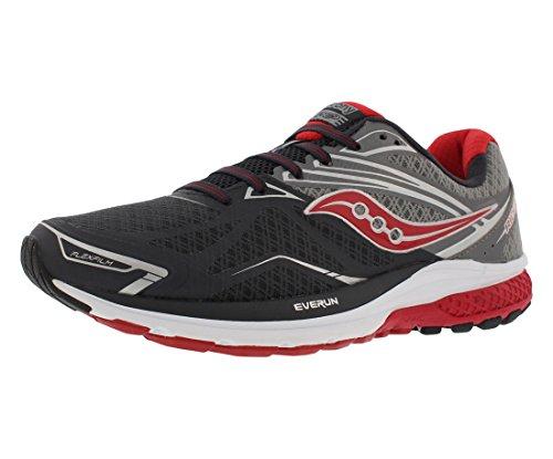 (Saucony Men's Ride 9 Running Shoe, Grey/Charcoal/Red, 11 M US)