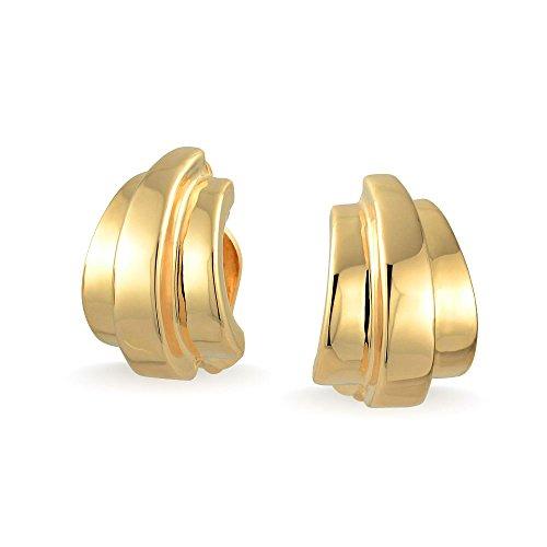 Geometric Shrimp Half Hoop Clip On Earrings For Women Non Pierced Ears Shinny 14K Gold Plated Brass (Shrimp 14k)