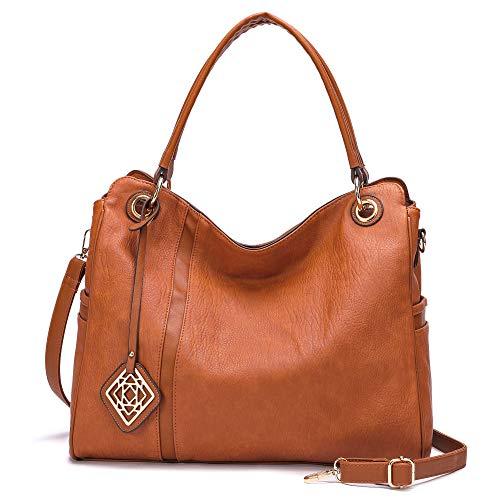 Women Handbag,Tote Hobo Bags Leather Shoulder Bag with pocket Ladies Work Bags Oversize Top-Handle Purse … (Tan)