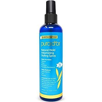 PURA D'OR Biotin Natural Hold Styling Spray (8oz) - Flexible Hold, Moisturizing & Volumizing Hairspray, Plant-Based Ingredients, Non-Aerosol & Earth Friendly (Packaging may vary)