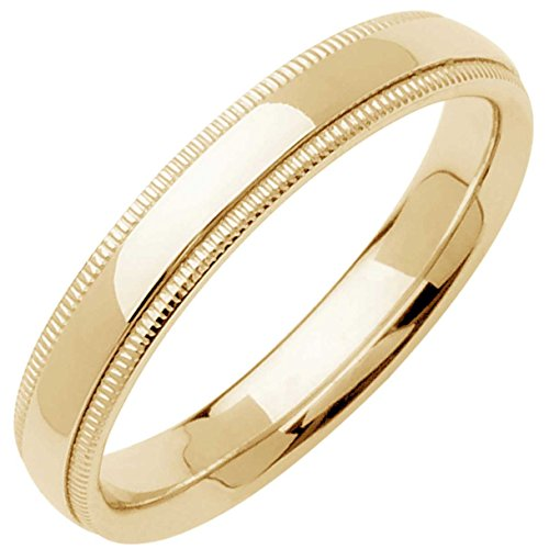 14K Yellow Gold Traditional Milgrain Edge Men's Comfort Fit Wedding Band (4mm) Size-10c1