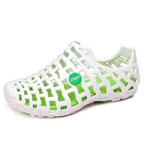 Tezoo Frauen Beach Sandal Cellular Rubber Schuhe Sommer und Strand Schuhe Wasser Schuhe Bequeme Weiche Outdoor Walking Breathable Loch Schuhe Urlaub Casual Sandal Indoor und Outdoor Weiß-grün