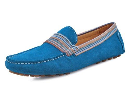 Happyshop (tm) 2014 Amoureux Chaussures En Cuir Suédé Mocassins Mocassins Chaussures De Conduite Slip-on Pour Les Couples Bleus (homme)