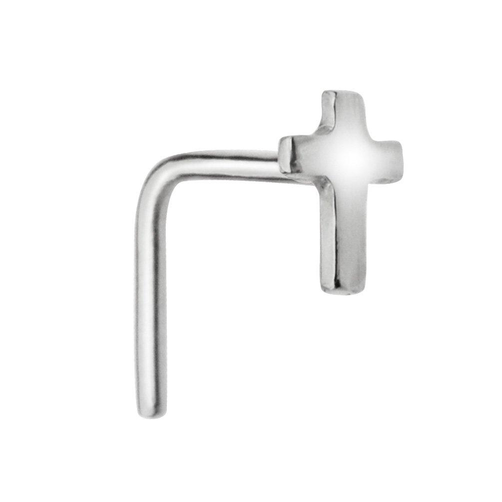 Sampson Nose Ring - Nose Stud - Sterling Silver 20 Gauge - Cross