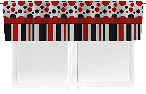 RNK Shops Red & Black Dots & Stripes Valance - Unlined (Personalized) (Valance Circle Dot)