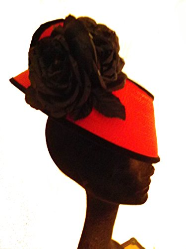 Red Straw Fascinator With Black Velvet And Flowers by Style Of Individuality