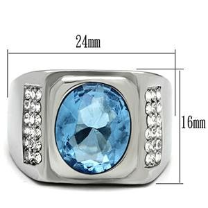 Stainless Steel Men's Ring with a Light Blue Stone in a Bezel Setting