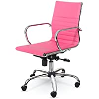 Winport Furniture WF-7912 Mid-Back Executive Leather Armrest Desk Chair, Pink