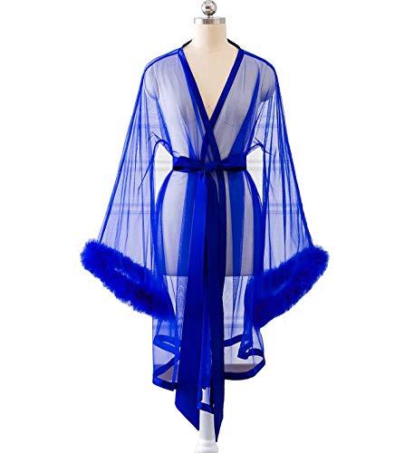 Changuan Sexy Feathers Short Wedding Evening Prom Robe Long Sleeve Bathrobe Sleepwear Loungewear Short-Royal Blue - Court Long Sleeve Train