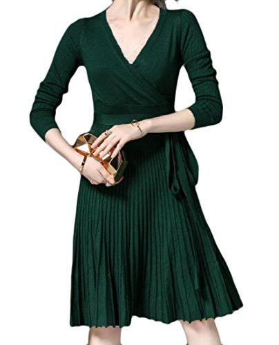 Knit Hipster Green Pleated Coolred Swing Dresses Women Pure Color Blackish Evening nIvffq4Hw