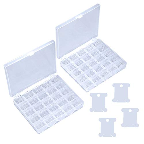 (50Pcs Plastic Sewing Machine Bobbins with Storage Case and Bonus Floss Bossins, for Brother Singer Janome Kenmore, Transparent)