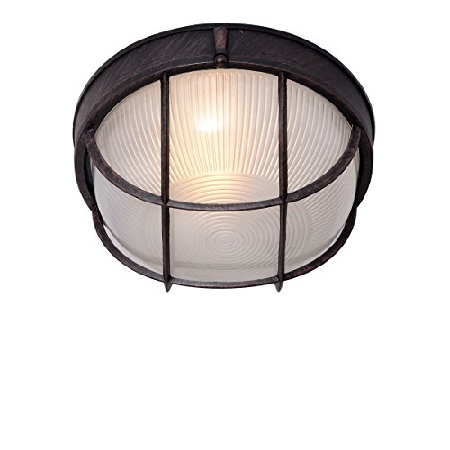 Truelite Industrial Rustic Wire Indoor 1 Light Ceiling Fixture Hemispheric  Glass Shade Outdoor Wall Sconce