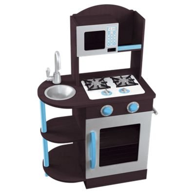 KidKraft Modern Espresso, Silver & Turquoise Wooden Kitchen (Espresso, Silver & Turquoise) (Espresso Play Table compare prices)