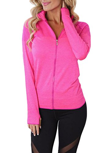 Aleumdr Womens Long Sleeve Slim Fit Full Zip Yoga Running Sports Workout Jacket Activewear Top Workout Coat Plus XL Size Pink