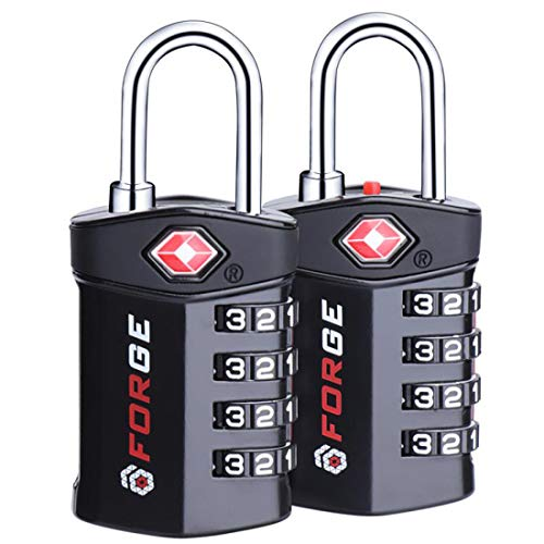 (4 Digit TSA Approved Luggage Lock, 2 Pack, Change Your Own Color and Combination, Inspection Indicator, Alloy Body)
