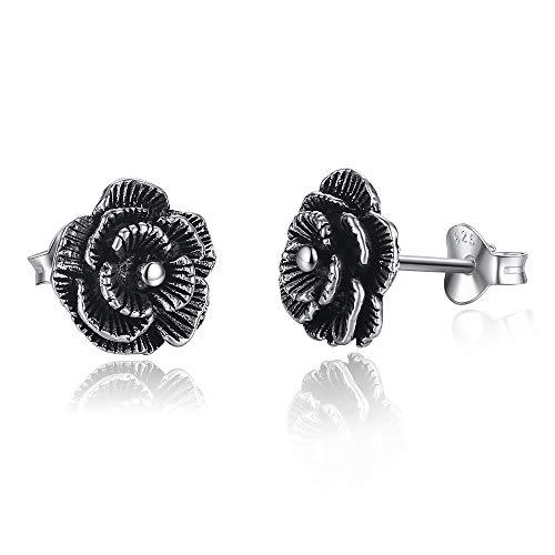 Black Rose Flower Sterling Silver Post Stud Earrings for Women