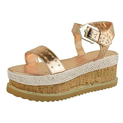 - lotus.flower Women's Slippers Rubber Sole Flatform Beach Shoes Belt Buckle Open Toe Sandals