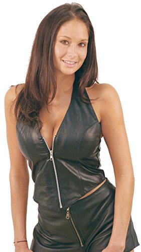 Jamin' Leather Zip Leather Halter Vest (L) - Vest Halter Leather