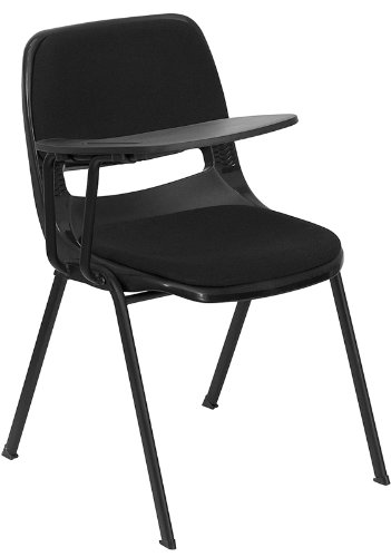 Flash Furniture Black Padded Ergonomic Shell Chair with Right Handed Flip-Up Tablet Arm