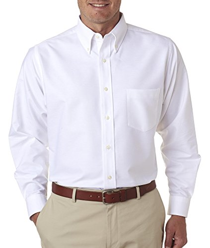 (UltraClub 8970T Mens Tall Classic Wrinkle-Free Long-Sleeve Oxford Shirt - White, XLT)