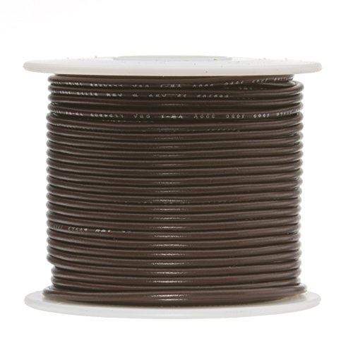 Remington Industries 18UL1007SLDBRO 18 AWG Gauge Solid Hook Up Wire, 100 feet Length, Brown, 0.0403'' Diameter, UL1007, 300 Volts