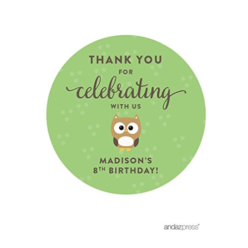 Andaz Press Personalized Birthday and Baby Shower Round Circle Labels Stickers, Thank You for Celebrating With Us, Woodland Owl, 40-Pack, For Gifts and Party Favors, Custom - You Custom
