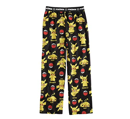 Pokemon Pikachu Boys Pajama PJ Lounge Pants, Elastic Waist, Brushed Flannel (S (4/5)) -