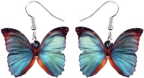 NOBRAND Pendientes de acrílico de Mariposa Azul Gris acrílico Big Dangle Drop joyería de Moda para