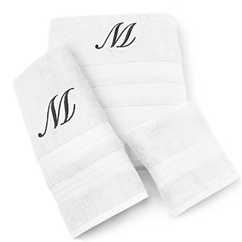 (KAUFMAN - MILAN 3 PIECE WHITE TOWEL SET WITH BLACK MONOGRAM (M))