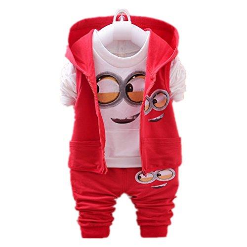 Newest 2018 Autumn Baby Girls Boys Minion Suits Infant/Newborn Clothes Sets Kids Vest+T Shirt+Pants 3 Pcs Sets Children Suits (1T, red) -