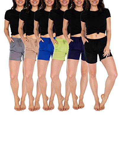 Sexy Basics Women's 6 Pack Anywear Active Workout Yoga Shorts/Semi-Sheer Flowy Casual Lounge Sleep Shorts (6 Pack- Black/Khaki/Grey/Navy/Royal/Lettuce, Large)