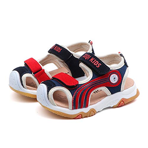 EnjoCho Summer Boys Girls Sandals Toddler Kids Beach Shoes for Boys Closed Toe Baby Flat Shoes (Age:3.5-4Years, Blue)