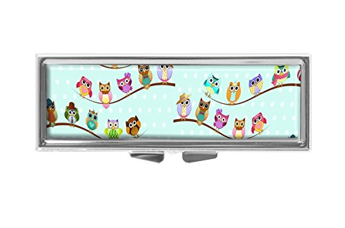 - Hiuyi Owls Custom Personalized Rectangle Pill Box Pocket Wallet Travel Pill Vitamin Decorative Box Protector
