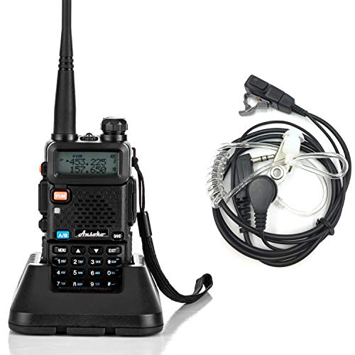 Ansoko Walkie Talkies Dual Band Two Way Radio VHF 136~174/ UHF 400~520 MHz with FM Radio Reception Include Acoustic Tube Earpiece (1 ()