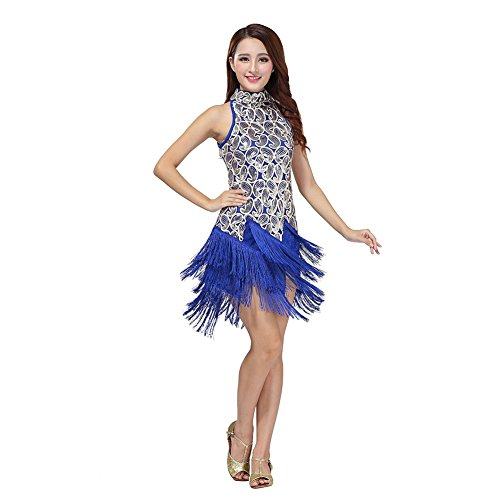 Tango Dancer Costume (Fedi Apparel Women's Girls Latin Salsa Tassle Sequins Dress Tango Cha Dancewear)