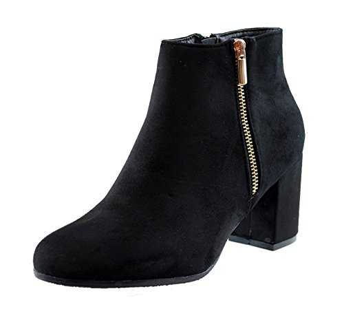 New Womens Ladies Ankle Boots High Block Heel Zip Comfy Casual Shoes Black