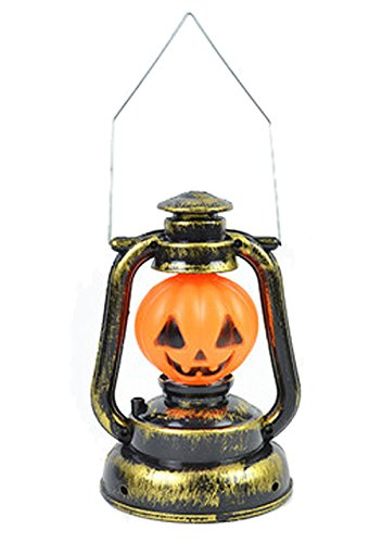 Moolecole LED Luminous Pumpkin Lamp Skeleton Pumpkin Lantern With Handle (Pumpkin Finial)