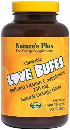 NaturesPlus Love Buffs Chewable Buffered Vitamin C - 250 mg Vitamin C, 90 Heart-Shaped Tablets - Orange Flavor - Immune Support Supplement, Antioxidant - Vegetarian, Gluten-Free - 90 Servings