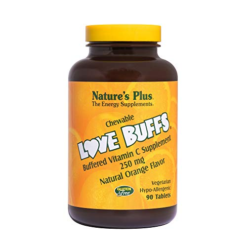 - Natures Plus Love Buffs - 250 mg Vitamin C, 90 Chewable Heart Shaped Tablets - Immune Support Supplement, Antioxidant - Natural Orange Flavor - Vegetarian, Gluten Free - 90 Servings