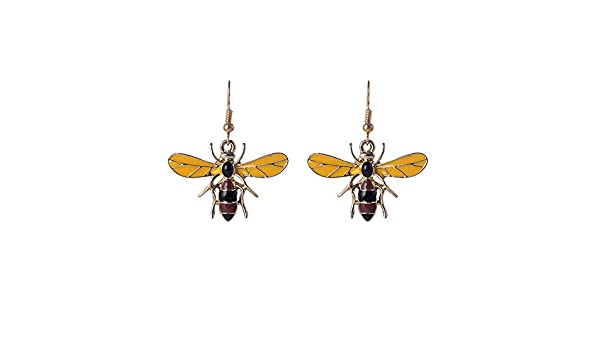 WLLAY Cute Bumble Bee Honeybee Insect with Sparkling Rhinestone Stud Earring