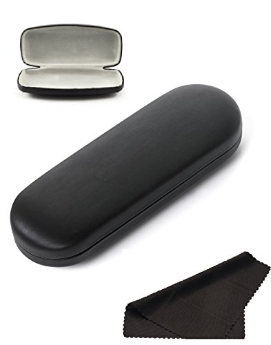 Glasses Case, Hard Shell Stylish Protects Sunglasses Storage For Reading Eyeglasses & Eyewear Clamshell Holder With Cleaning Cloth (Black- - Sunglasses Kawaii
