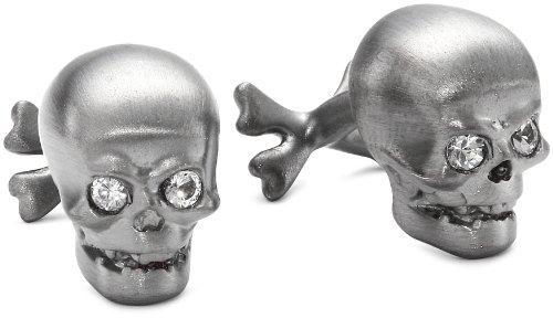 ROTENIER Novelty Sterling Silver Black Skull with Sapphire Cufflinks - Sapphire White Cufflinks