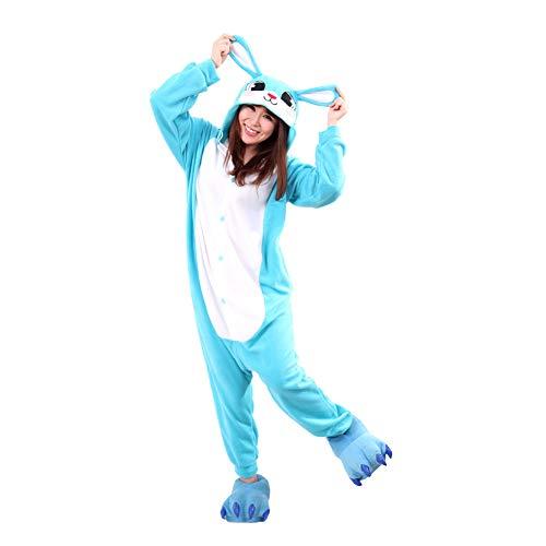 URVIP Easter Rabbit Pajama One Piece Cozy Polar Fleece Halloween Cosplay Costume Blue S -