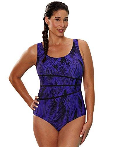 d2dfea30a2 Aquabelle Women s Plus Size Chlorine Resistant Arroyo Spliced Tank Swimsuit  20 Purple