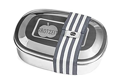 Brotzeit Magic Lunchbox mit herausnehmbarer Unterteilung aus Edelstahl - Brotdose - Jausenbox - Snackbox (Camouflage Grü n)