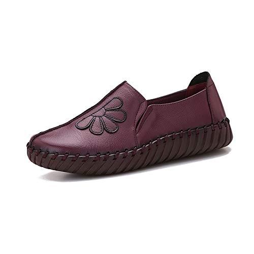 Sola Trabajo Cuero purple Zapatos la Cuero Zapatos la de a la Manera Flor de FLYRCX Hechos Casuales Retro de Parte de Planos Inferior Mano de de HAwR44tqB