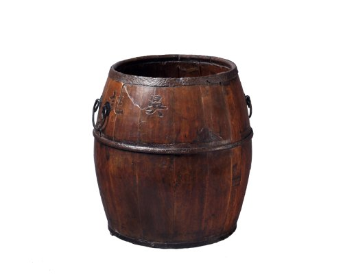 Antique Revival Small Wooden Pot-Belly Barrel from Antique Revival