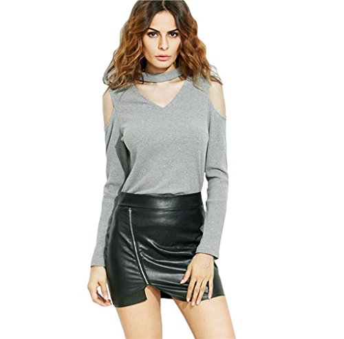 Morecome Fashion Women Off Shoulder Tops Long Sleeve Casual Blouse (S, Grey)